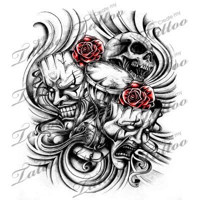 tattoo design marketplace marketplace tattoo laugh now cry later masks with broken