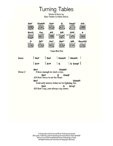Tables Turned Lyrics by Piano 187 Piano Chords Adele Sheets Tablature