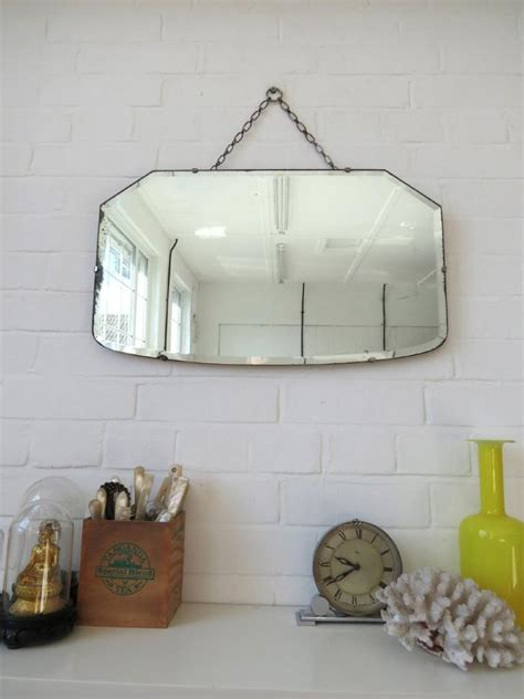 frameless wall mirrors art deco mirrors bathroom mirrors vintage large art deco bevelled edge wall mirror or