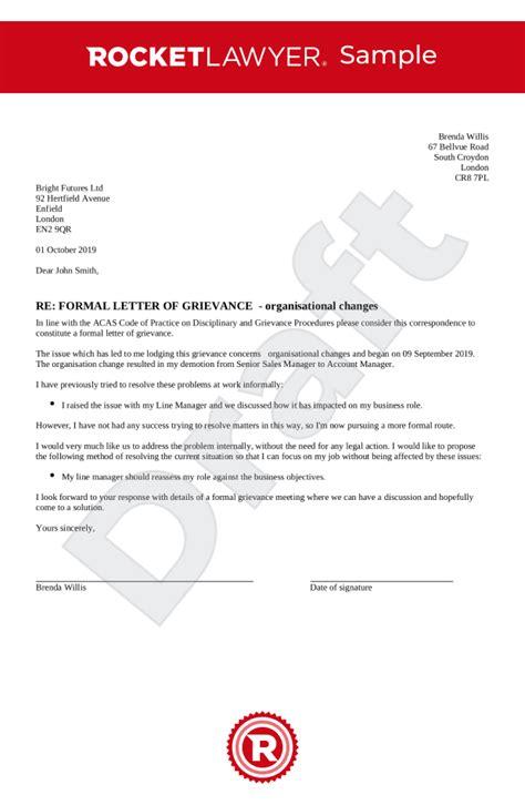 grievance letter uk template