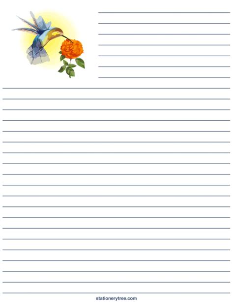 printable decorative stationery paper printable hummingbird stationery and writing paper