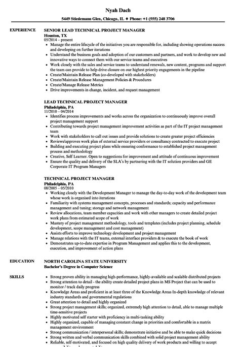 Technical Program Manager Resume by Technical Project Manager Resume Sles Velvet