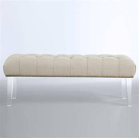 linen upholstered bench stella beige linen upholstered nailhead lucite bench zin