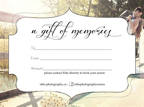 Shoot Card Template by Free Photography Gift Certificate
