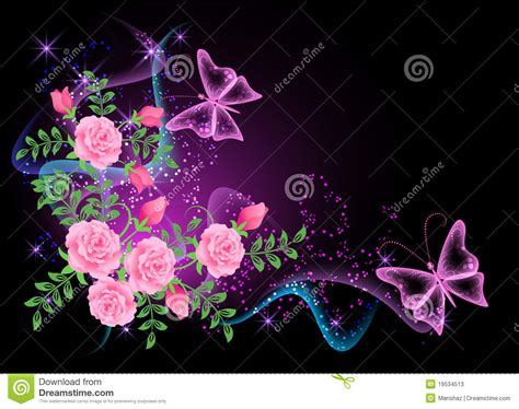 imagenes de amor brillantes background with flowers smoke and butterfly stock vector