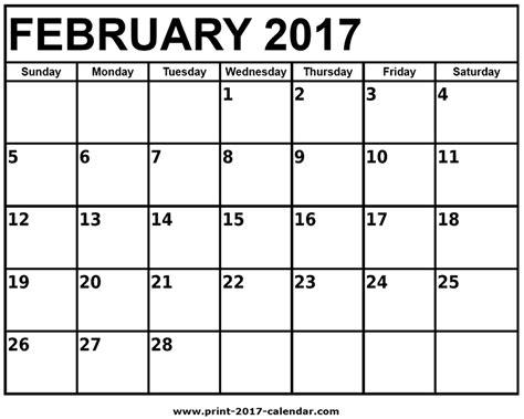 february calendar template 2017 printable february calendar printable calendar 2017
