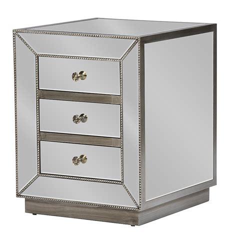 emma 3 drawer nightstand mirrored baxton studio currin contemporary mirrored 3 drawer nightstand