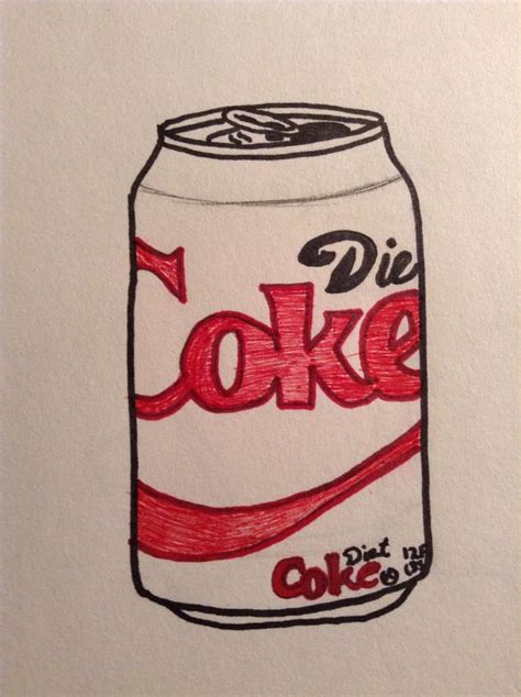 Coke Drawing half colored drawing of a diet coke can find something to