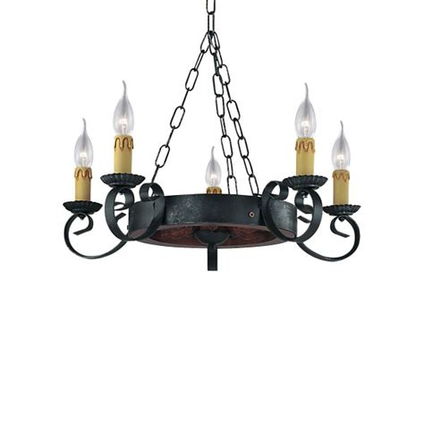 searchlight 8705 5 cartwheel 5 light wrought iron