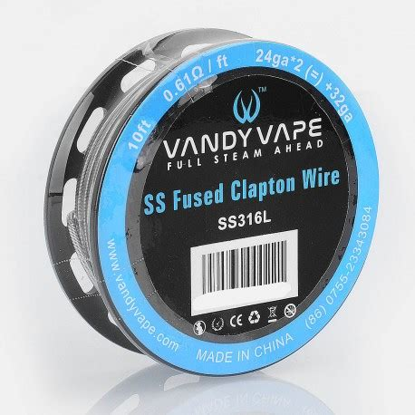 Authentic Ss316l 24ga Awg By Ud Stainless Steel 24 authentic vandy vape ss316l ss fused clapton wire 0 61ohm heating wire