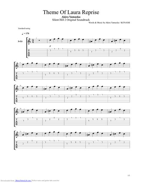 waiting room bass tab silent hill 2 theme of reprise guitar pro tab by yamaoka musicnoteslib