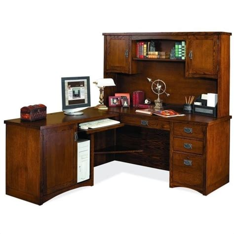 Kathy Ireland Home By Martin Mission Pasadena Lhf L Shape Mission Desk With Hutch