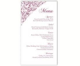 Diy Menu Template by Wedding Menu Template Diy Menu Card Template Editable Text