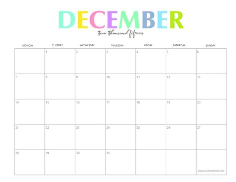 free printable december 2015 calendar with notes the colorful 2015 monthly calendars by shiningmom com are