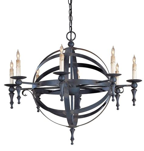 The Chandelier Company Currey And Company 9711 Blacksmith Armillary Sphere Chandelier With Customizable Shades