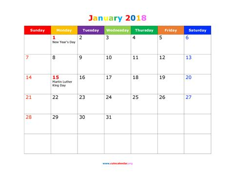 printable january schedule free january 2018 calendar in printable format calendar