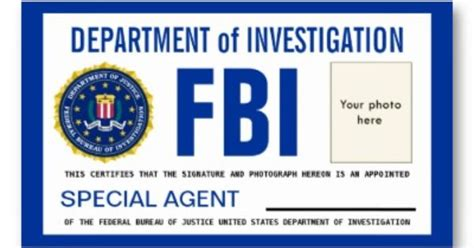 fbi id card template id cards templates template fbi badge sep 17