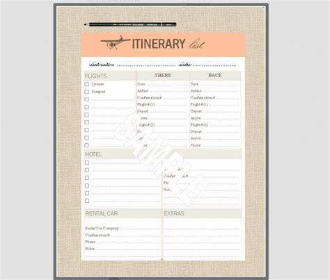 10 itinerary template examples templates assistant