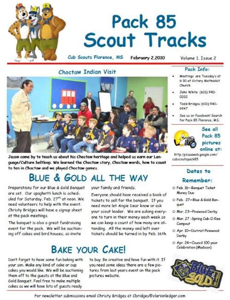 Public Newsletter Cub Scout Pack 85 Florence Mississippi Cub Scout Newsletter Template
