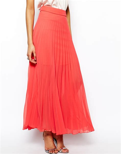 maxi skirt pleated fashion skirts lipsy pleated maxi skirt in pink coral lyst