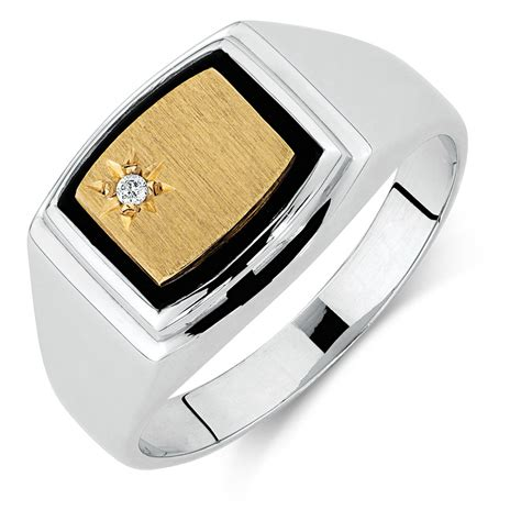 Mens Ring by S Set Ring With Black Onyx In 10kt Yellow Gold