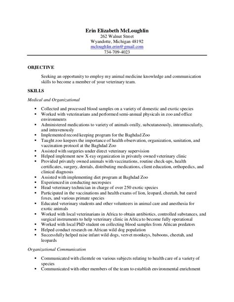 Veterinarian Resume by Erin Vet Tech Resume