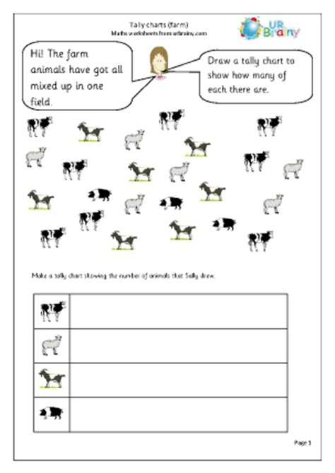 tally chart a year 3 tally chart farm handling data maths worksheets for year