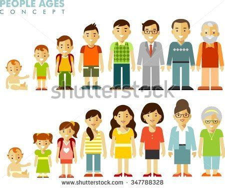 people generations  ages man woman stock vector