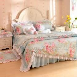 Cheap White Duvet Blue White Rose Flower Girls Ruffle Bedding Sets Twin Full