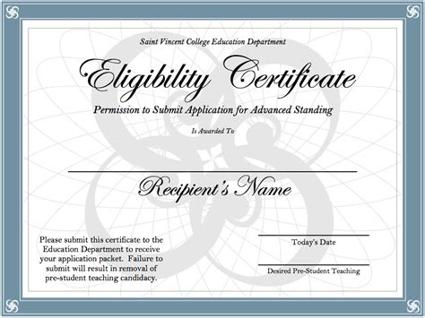Certification   SAINT VINCENT COLLEGE EDUCATION DEPARTMENT