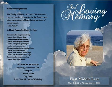 obituary template free loved one free microsoft office funeral service or