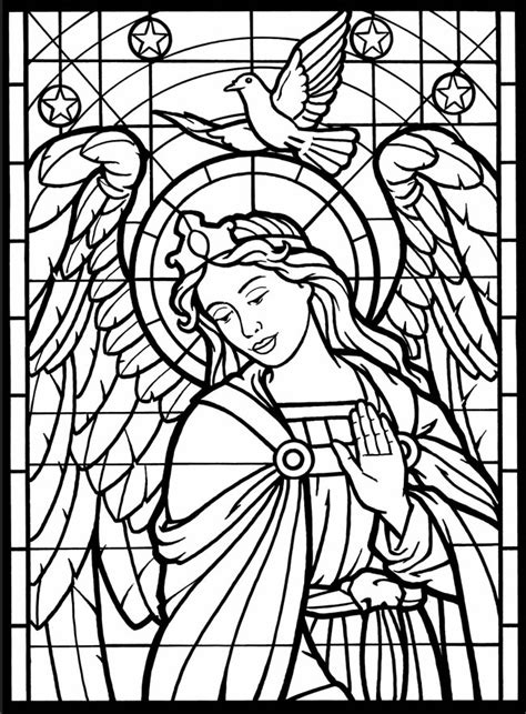 Angels Coloring Pages Stainedglass Window Daily Two Cents Stained Glass Coloring Pages For Adults