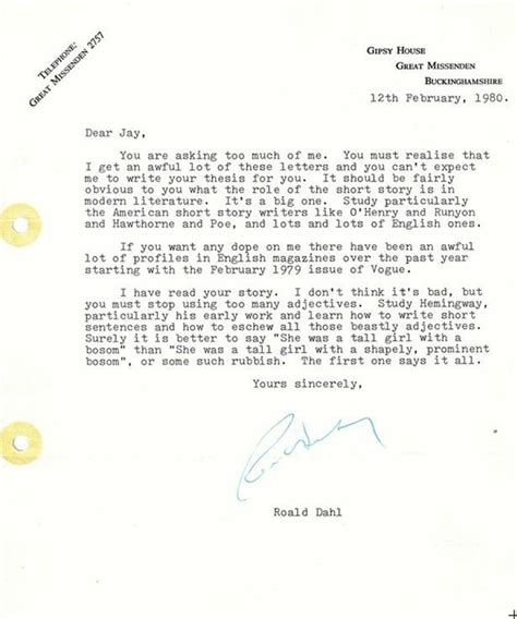 Response Letter When You Didn T Get The Aspiring Writer Asks Roald Dahl For Advice He Didn T Expect This Response Mirror