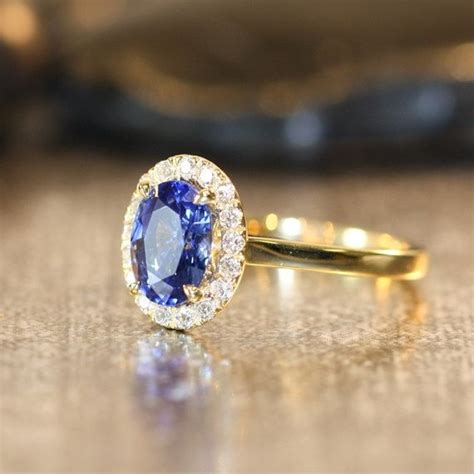 Blue Safir With Ring blue sapphire engagement ring halo ring