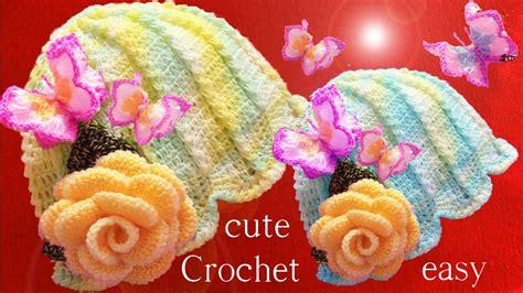rosas en 3d aprende como tejer a crochet gorro flor con aplicaciones