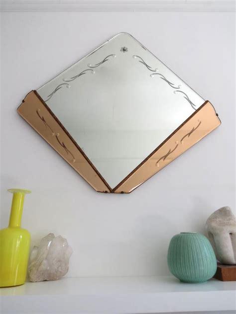 deco fan wall mirror vintage deco fan shape wall mirror with colored glass