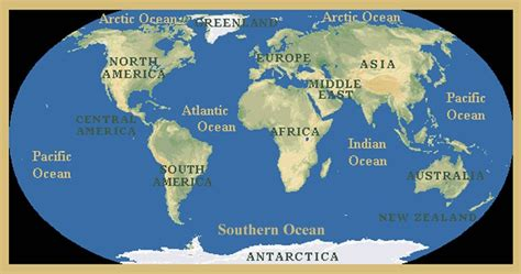 america map oceans continents and oceans continents