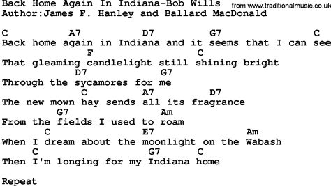 in lyrics country back home again in indiana bob wills lyrics