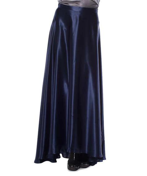gene silk navy maxi skirt designer skirts sale gene