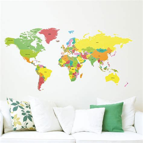 Large Childrens Wall Stickers countries of the world map wall sticker by the binary box