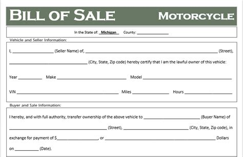 Free Michigan Motorcycle Bill Of Sale Template Off Road Freedom Bill Of Sale Template Michigan