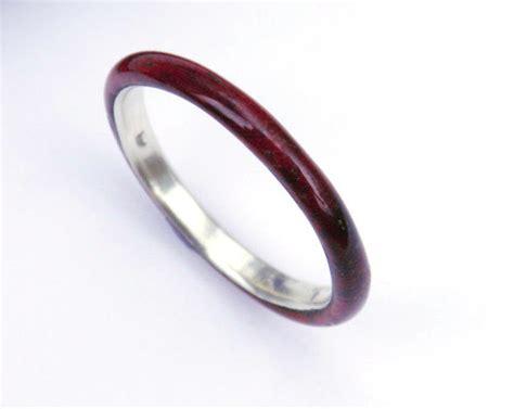 wood ring sleek padauk with sterling silver inner sleeve
