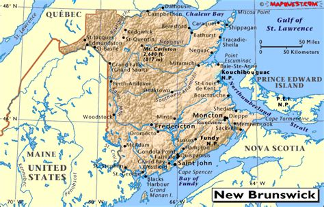 map of maine usa and new brunswick canada newbrunswick