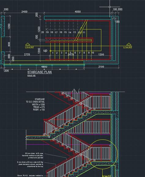 rc section typical rc stair detail cad files dwg files plans and