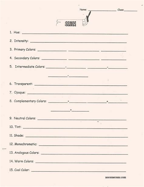 Middle School Vocabulary Worksheets by Color Theory Vocabulary Worksheet Middle School