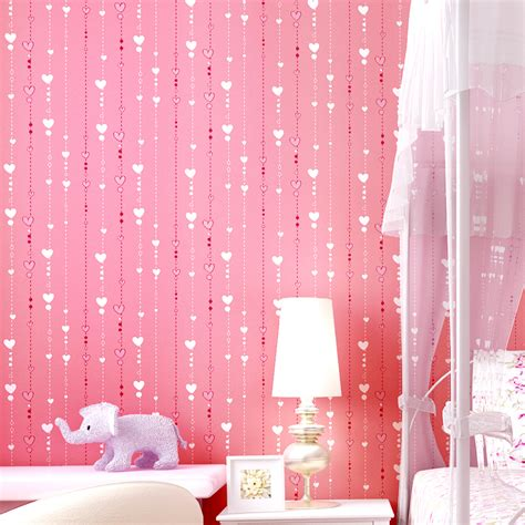 heart bedroom wallpaper brief child real nonwoven wallpaper girl bedroom wall pink heart vertical stripe print