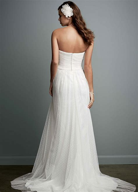 David's Bridal Swiss Dot Tulle Empire Waist Soft Wedding Gown Style WG3438 Size 4 Wedding Dress