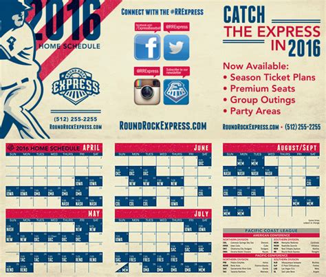 round rock express announces 2016 home schedule 2016 printable home schedule round rock express schedule