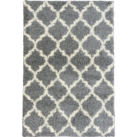 Plush Area Rugs 8x10 Berrnour Home Plush Moroccan Trellis Design Grey 7 Ft 10 In X 9 Ft 10 In Shag Area Rug