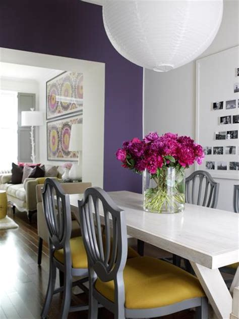 purple dining room purple accent wall contemporary entrance foyer ralph